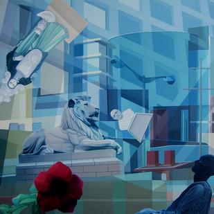 Bloom by JOYDIP SENGUPTA, Surrealism Painting, Oil on Canvas, Blue color
