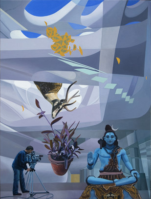 Spotlight by JOYDIP SENGUPTA, Surrealism Painting, Oil on Canvas, Blue color