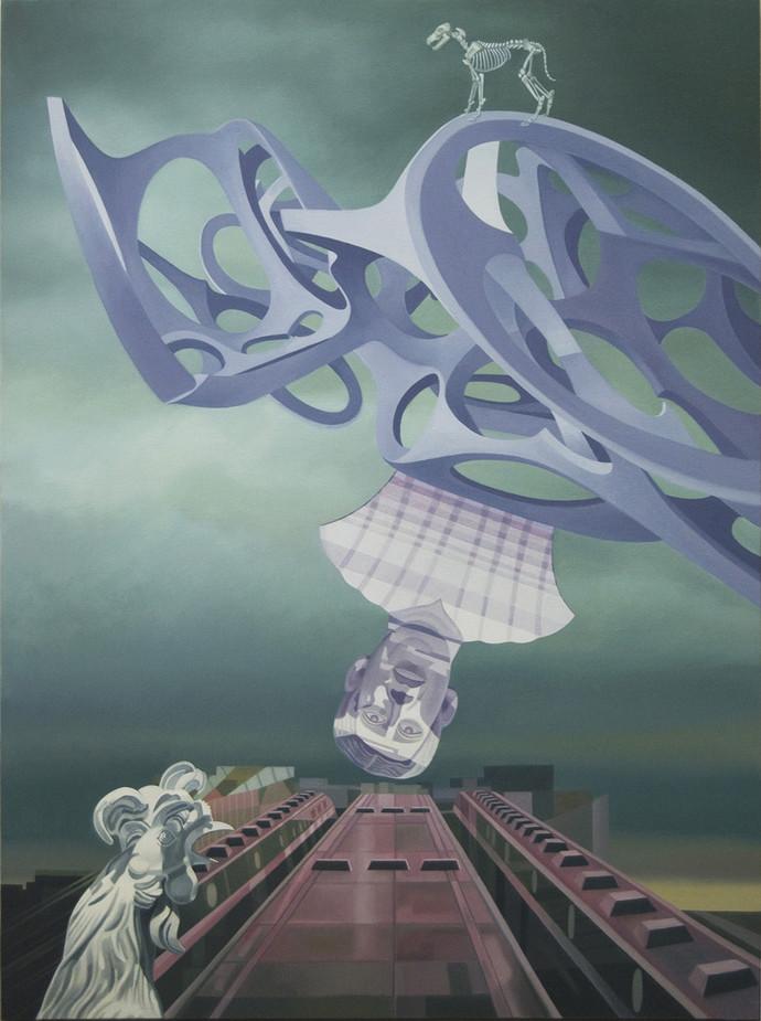 Nexus by JOYDIP SENGUPTA, Pop Art Painting, Oil on Canvas, Green color