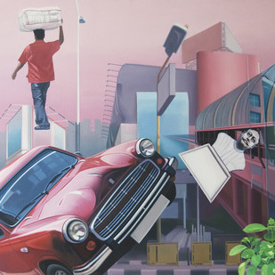 Sky Walk by JOYDIP SENGUPTA, Surrealism Painting, Oil on Canvas, Pink color