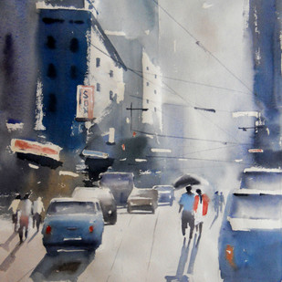City by Sajal K. Mitra, Impressionism Painting, Watercolor on Paper,