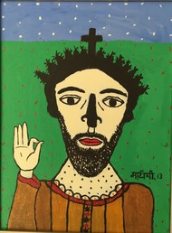 The Christ by Madhvi Parekh, Expressionism Painting, Acrylic on Canvas, Green color