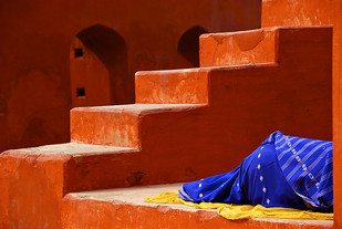 Sleeping on the Job by Sanjay Nanda, Image Photograph, Digital Print on Canvas, Brown color