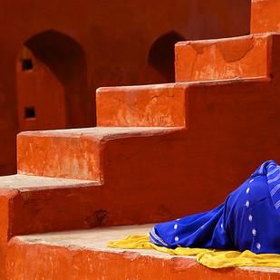 Sleeping on the Job by Sanjay Nanda, Image Photograph, Digital Print on Canvas, Brown color