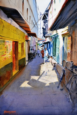 Lanes of Varanasi 6 by Ramesh Jhawar, Impressionism Painting, Watercolor on Paper, Brown color