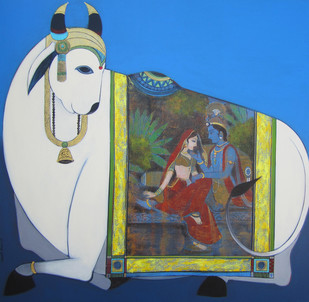 Holy Cow by Ashok Rathod, Decorative Painting, Acrylic on Canvas, Blue color