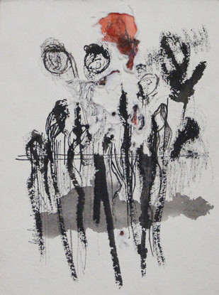 Spinning Deep 3 by Rashmi Khurana, Minmalism Painting, Acrylic & Ink on Paper, Gray color