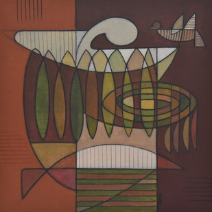 Inner Massage by Digamber Gavali, Cubism Painting, Acrylic on Canvas, Brown color