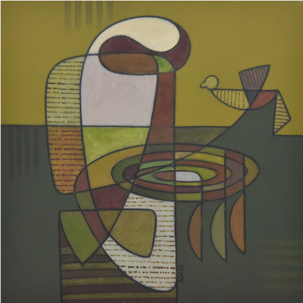 Inner Massage by Digamber Gavali, Cubism Painting, Acrylic on Canvas, Green color
