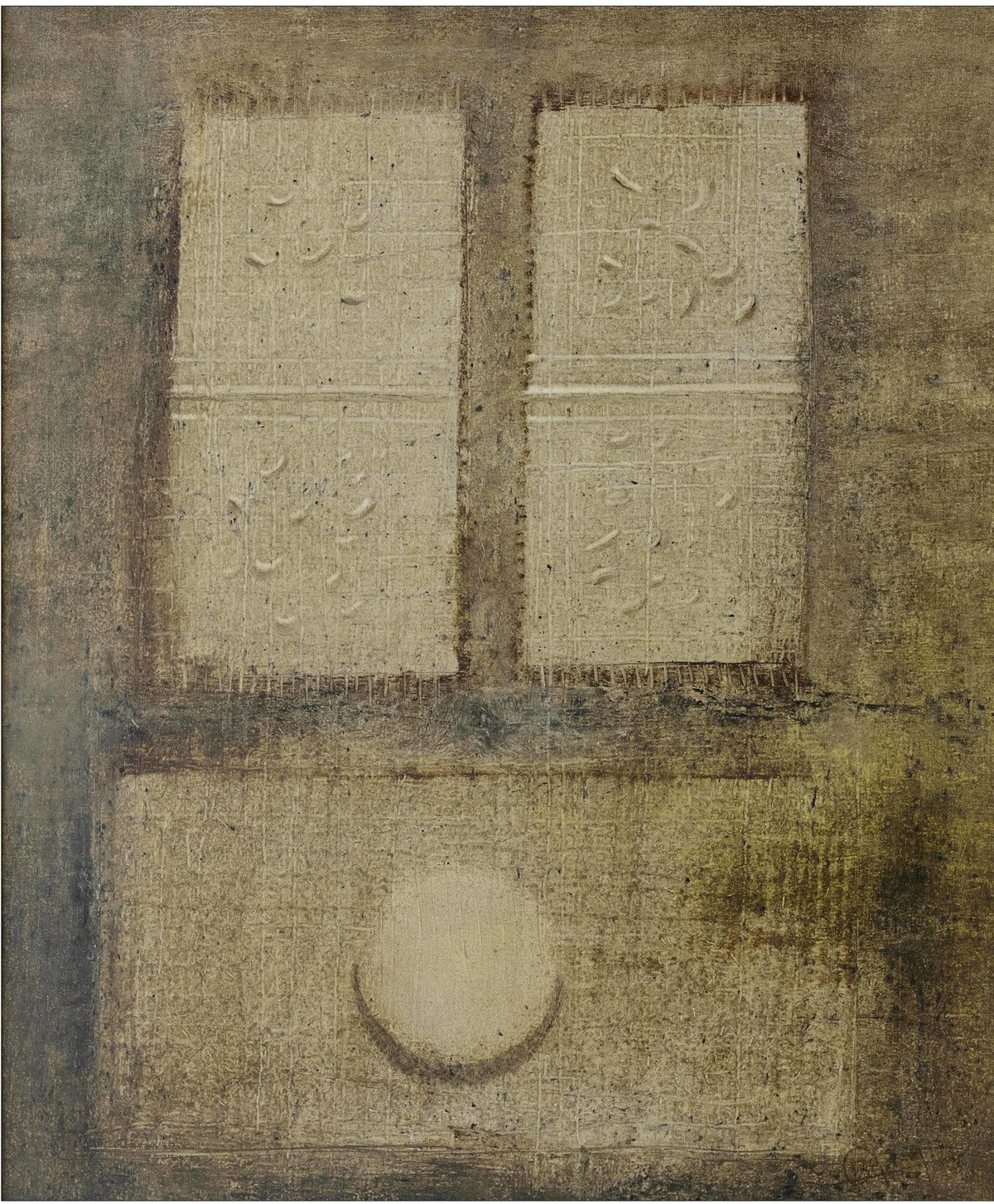 Untitled I by Ramesh Thorat, Traditional Painting, Oil on Canvas, Brown color