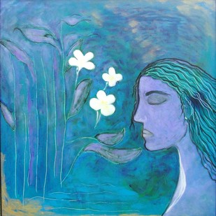 The Frangipani by Ranjeeta Kant, Fantasy Painting, Acrylic on Canvas, Blue color
