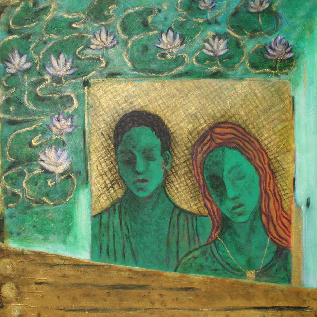Just Married by Ranjeeta Kant, Fantasy Painting, Acrylic on Canvas, Green color
