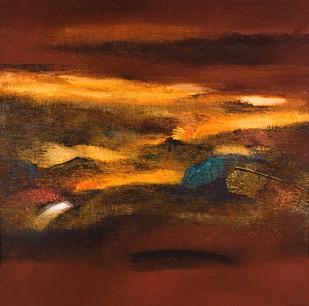Horizons by Madhuri Bhaduri, Abstract Painting, Oil on Canvas, Brown color