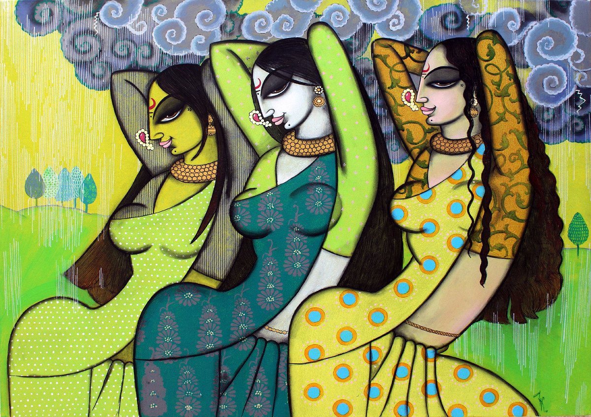 Pluvial by Varsha Kharatmal, Traditional Painting, Acrylic & Graphite on Canvas, Green color