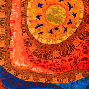 Golden Sun by Pragati Sharma Mohanty, Fantasy Painting, Mixed Media on Canvas, Orange color