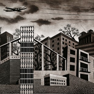 Changing Skyline II by Annu Gupta, Pop Art Printmaking, Etching and Aquatint, Brown color
