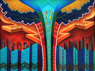 Changing Skyline by Annu Gupta, Pop Art Painting, Oil on Canvas, Blue color