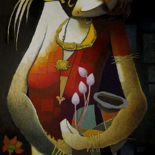 Untitled by Surendra Pal Singh, Decorative Painting, Oil on Canvas, Brown color