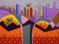 Changing Skyline by Annu Gupta, Pop Art Painting, Acrylic on Canvas, Brown color