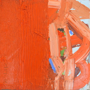 The Orange County by Nidhi Agarwal, Abstract Painting, Oil on Canvas, Orange color