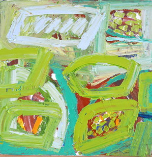 Harvesting by Nidhi Agarwal, Abstract Painting, Oil on Canvas, Green color
