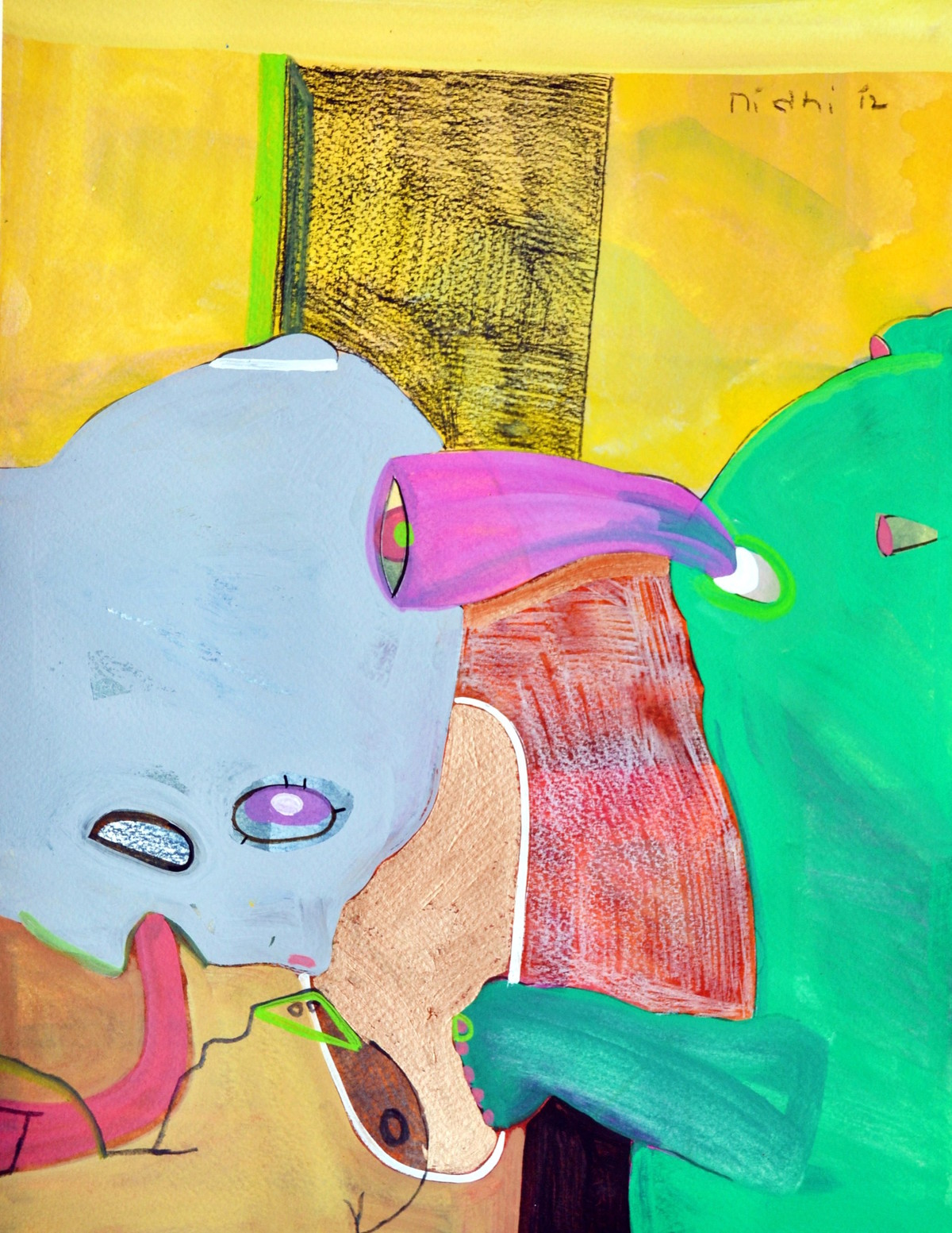 Conversations by Nidhi Agarwal, Expressionism Painting, Water Based Medium on Paper, Green color