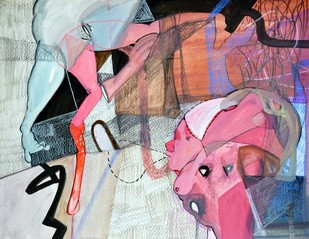 Gamut by Nidhi Agarwal, Expressionism Painting, Water Based Medium on Paper, Pink color