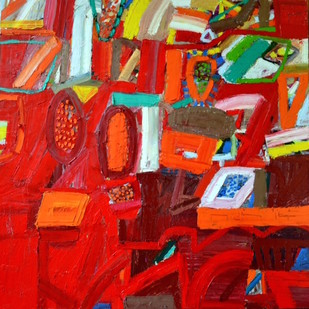Red Landscape by Nidhi Agarwal, Abstract Painting, Oil on Canvas, Red color