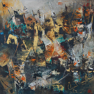 UNTITLED (PASSIONATE EXPRESSIONS SERIES) by MOLLIE MANN, Abstract Painting, Acrylic on Canvas, Gray color