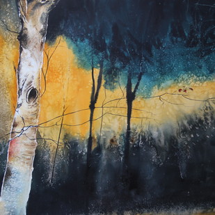 Waiting for spring 2 by Nidhi Rajput Bhatia, Impressionism Painting, Watercolor on Paper, Blue color