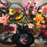 Manu parekh   flowers from heaven 28  acrylic on canvas   36 x 48 inc   2015.