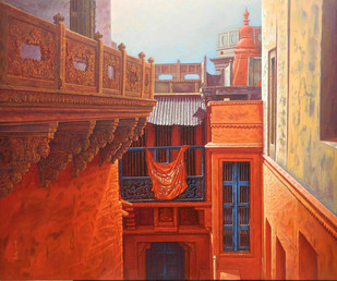 Varanasi X by Anil Kumar Yadav, Realism Painting, Acrylic on Canvas, Brown color