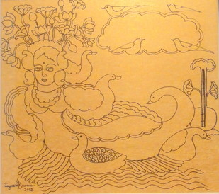 Untitled by Jayasri Burman, Illustration Drawing, Pen on Paper, Beige color