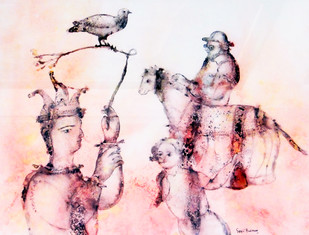 Untitled by Sakti Burman, Impressionism Painting, Watercolor on Paper, Pink color
