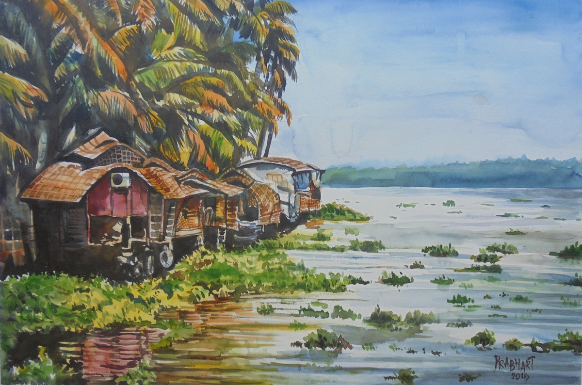 house boat by Prabhakaran, Impressionism Painting, Watercolor on Paper, Brown color