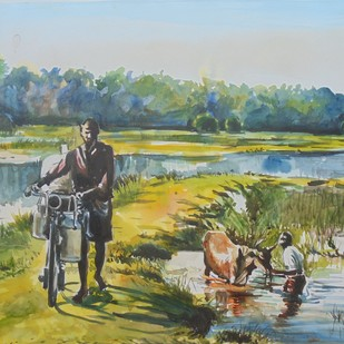 morning bright by Prabhakaran, Impressionism Painting, Watercolor on Paper, Green color