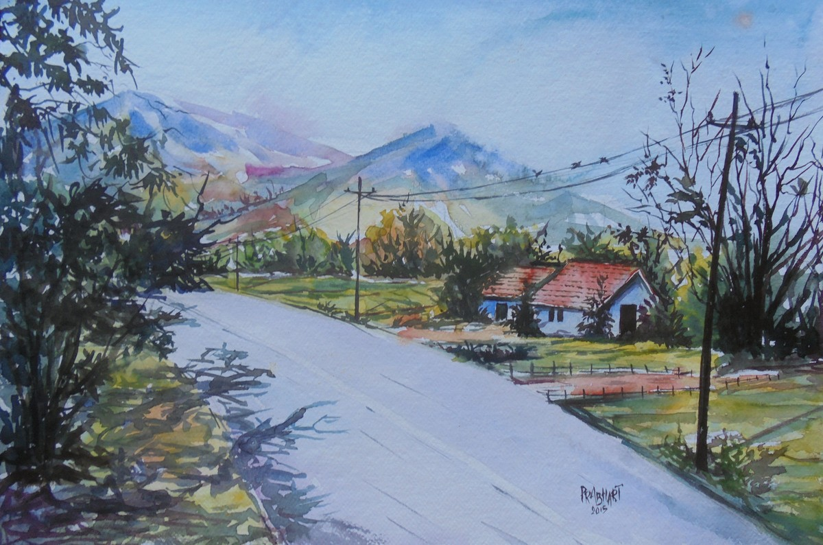 sunny valley... by Prabhakaran, Impressionism Painting, Watercolor on Paper, Cyan color