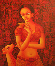 UNSOLVED VENTURE 101 by Rakhi Kumar, Decorative Painting, Acrylic on Canvas, Red color