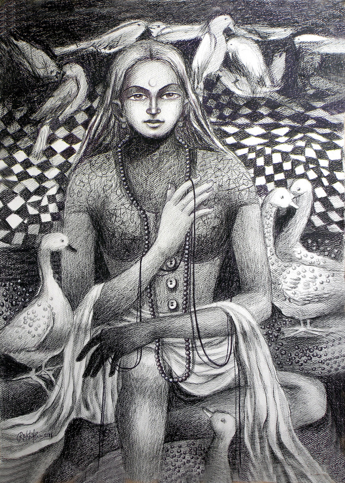 UNSOLVED VENTURE 41 by Rakhi Kumar, Illustration Drawing, Mixed Media on Paper, Gray color
