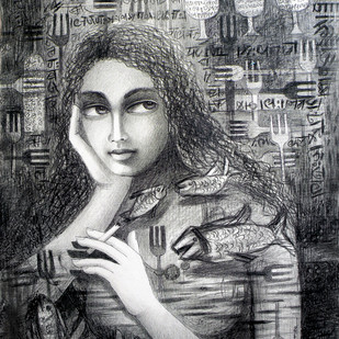UNSOLVED VENTURE 20 by Rakhi Kumar, Illustration Drawing, Mixed Media on Paper, Gray color