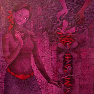 UNSOLVED VENTURE 90 by Rakhi Kumar, Decorative Painting, Acrylic on Canvas, Purple color