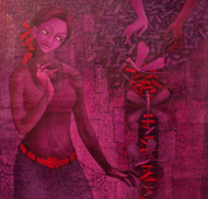 UNSOLVED VENTURE 90 by Rakhi Kumar, Decorative Painting, Acrylic on Canvas, Purple color