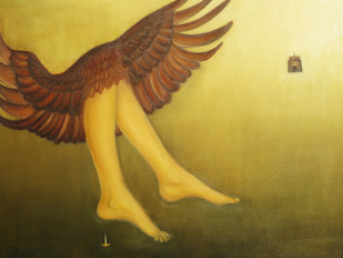 Range of Flight by riddhima sharraf, Futurism Painting, Oil on Canvas, Brown color