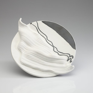 Achrome 3 by Rahul Kumar, Art Deco Sculpture, Ceramic, Gray color