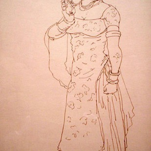 Untitled by A Ramachandran, Illustration Drawing, Ink on Paper, Beige color