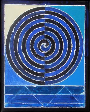 Kundalini by S H Raza, Geometrical Painting, Acrylic on Canvas, Blue color