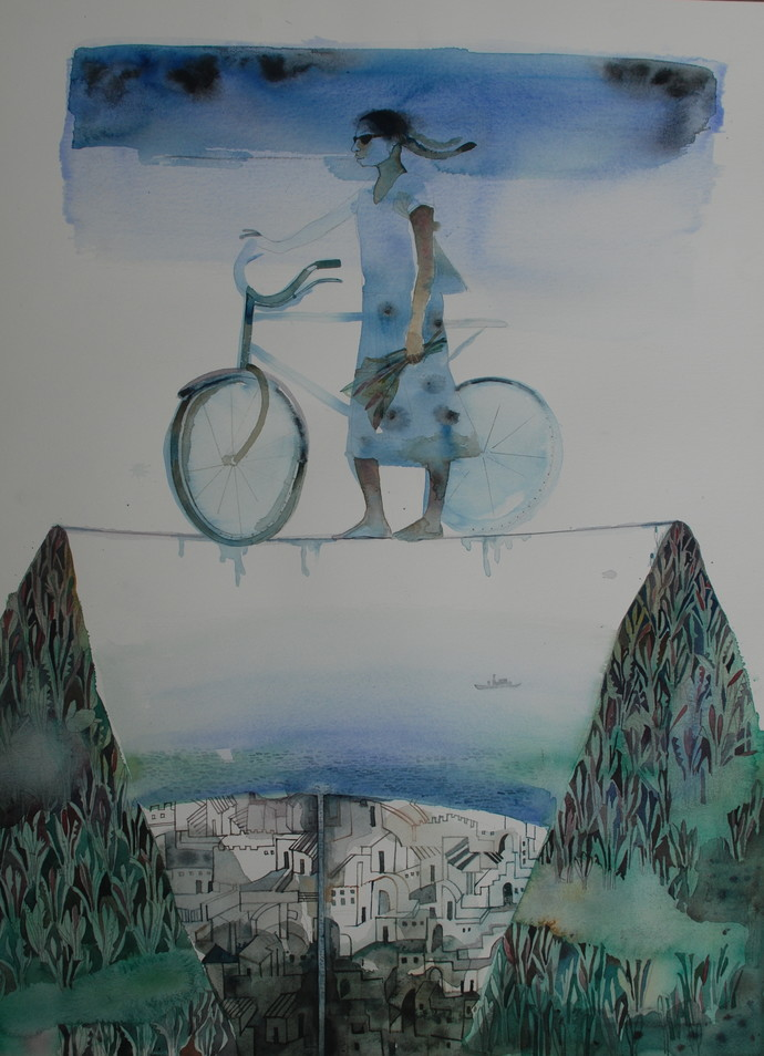 Untitled by A Rajeswara Rao, Surrealism Painting, Watercolor on Paper, Gray color
