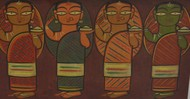 Untitled by Jamini Roy, Expressionism Painting, Gouache on Board, Brown color