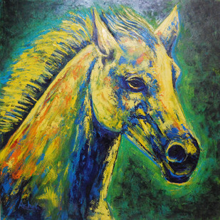 Horse Portrait by Ashokkumar.B, Impressionism Painting, Oil on Canvas, Green color