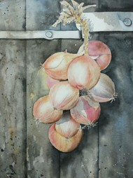 Know Your Onions by Poulami Basu, Impressionism Painting, Watercolor on Paper, Gray color